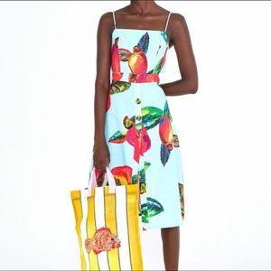 Farm Rio Floral Midi Dress in Cashew Print XS